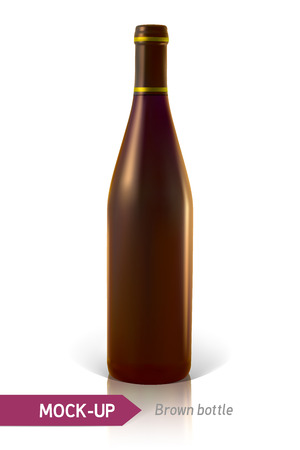 brown bottles: Mockup realistic brown bottles of wine or cocktail on a white background with reflection and shadow. Template for label design.