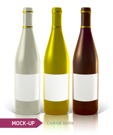 unopened: Mockup realistic of cocktail bottles on white background with reflection and shadow. Template for label design.