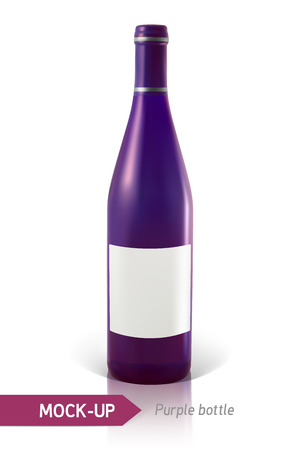 unopened: Mockup realistic purple bottles of wine or cocktail on a white background with reflection and shadow. Template for label design.