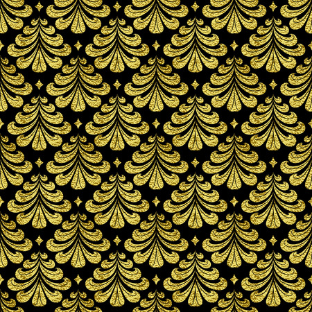 aristocratically: seamless background with gold Damascus pattern. The backdrop for the printed products, web design, postcards, banners, etc. Illustration