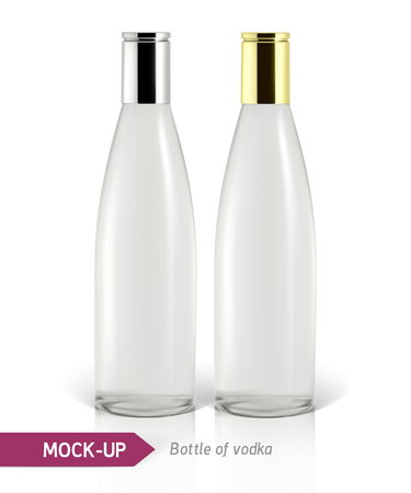 gin: Realistic vodka bottle or other gin bottle. Mockup on a white background with shadow and reflection.