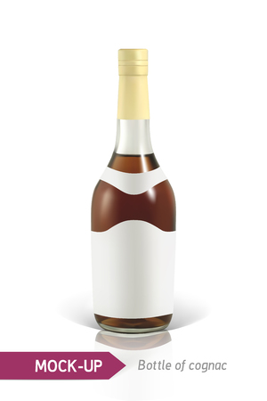 Mockup realistic bottles of cognac on a white background with reflection and shadow. Template for label design. Illustration