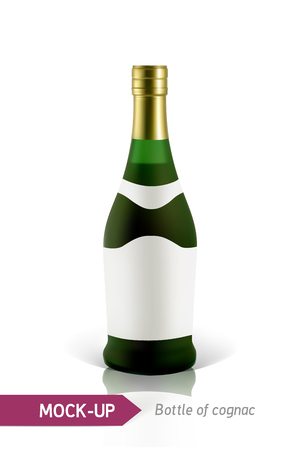 Mockup realistic green bottles of cognac on a white background with reflection and shadow. Template for label design. Illustration