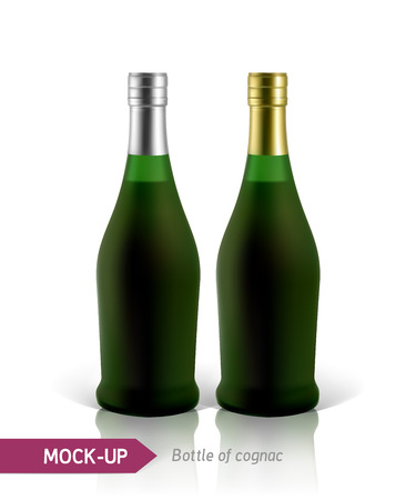 bourbon: Mockup realistic green bottles of cognac on a white background with reflection and shadow. Template for label design. Illustration