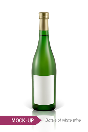 gree: Mockup realistic gree bottle of white wine on a white background with reflection and shadow. Template for wine label design.
