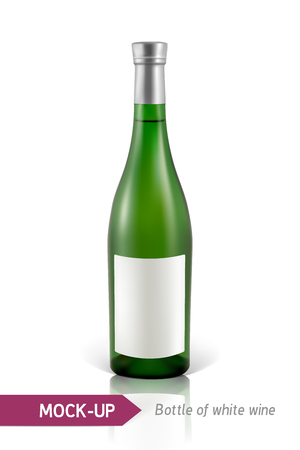 unopened: Mockup realistic gree bottle of white wine on a white background with reflection and shadow. Template for wine label design.