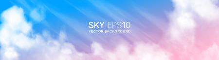 realistic pink-blue sky Illusztráció