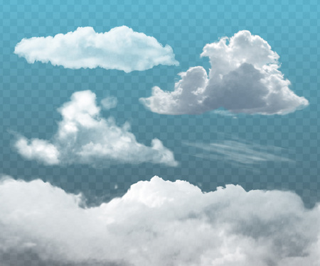Set of transparent realistic clouds. Can be used as a decorative element or for creating a background.