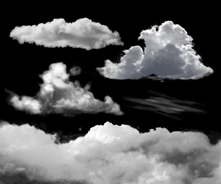 Set of transparent realistic clouds on a black background can be applied to any background and used as a layer mask. Illusztráció