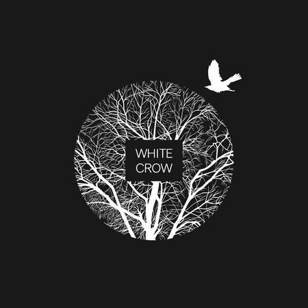 Square template with a white crow and a tree on a black background. Banner template.