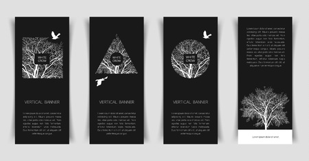 Narrow vertical templates with a white crow and a tree on a black background. Banner templates.