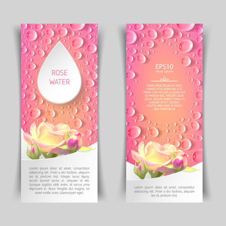 Narrow vertical pink banner with roses and drops. Template for advertising rose water. Illustration