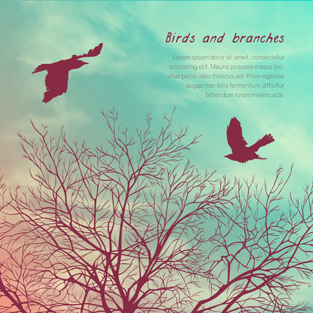 Square banner with crows and tree branches. Template for postcard, poster or advertisement Illustration