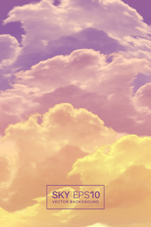 Vertical vector background with realistic violet-orange sky and clouds. The image can be used to design a banner, flyer and postcard.