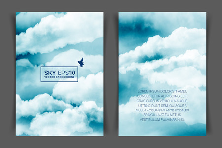 Two-sided vertical flyer of a4 format with watercolor blue-white sky and clouds. The image can be used to design a banner, flyer and postcard. 일러스트