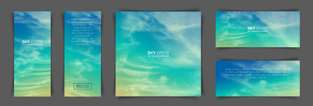 A set of flyers with realistic turquoise-yellow sky and spindrift clouds. The image can be used to design a flyer and postcard. Ilustração