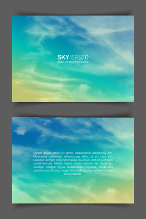 Two-sided horizontal flyer of a4 format with realistic turquoise-yellow sky and spindrift clouds. The image can be used to design a banner, poster and postcard