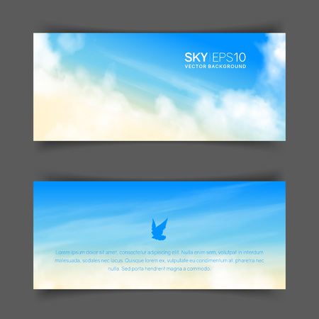 Narrow horizontal vector banners with realistic beige-blue sky and cumulus clouds. The image can be used to design a flyer and postcard.