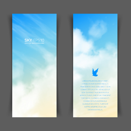 Narrow vertical vector banners with realistic beige-blue sky and cumulus clouds. The image can be used to design a flyer and postcard. Standard-Bild - 109498862