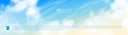 Narrow horizontal vector banner with realistic beige-blue sky and cumulus clouds. The image can be used to design a flyer and postcard.