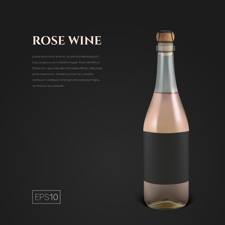 Photorealistic bottle of rose sparkling wine on a black background. Mock up transparent bottle of wine. Template for presentation in a minimalist style.
