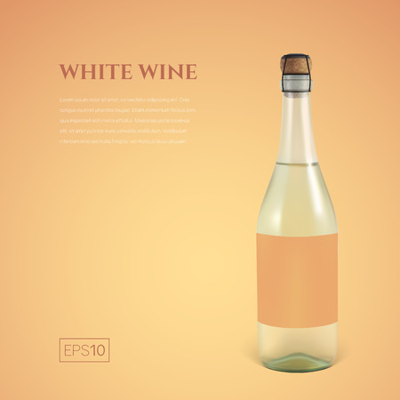 Photorealistic bottle of white sparkling wine on a yellow background. Mockup transparent bottle of wine. Template for presentation in a minimalist style.