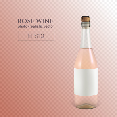 Photorealistic bottle of rose sparkling wine on a transparent background. This wine bottle can be placed on any background.