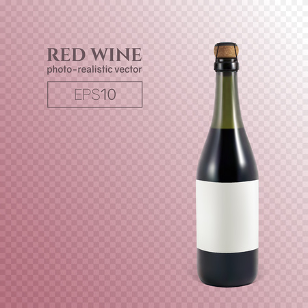 Photorealistic bottle of red sparkling wine on a transparent background. This wine bottle can be placed on any background.