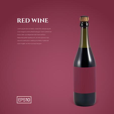 Photorealistic bottle of red sparkling wine on a burgundy background. Mockup transparent bottle of wine. Template for presentation in a minimalist style. Ilustração