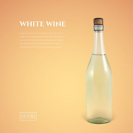 Photorealistic bottle of white sparkling wine on a yellow background. Mock up transparent bottle of wine. Template for presentation in a minimalist style.