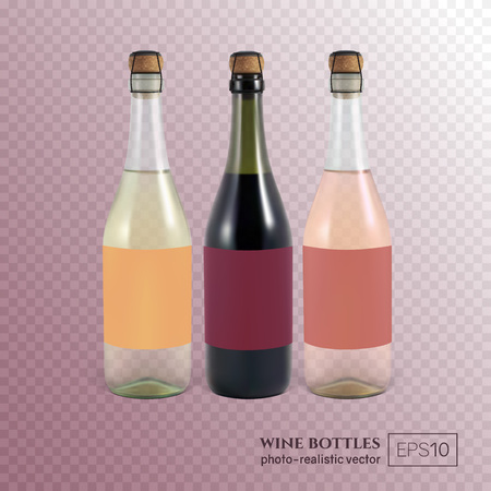 Red, white and rose wine bottles on transparent background. This wine bottles can be placed on any background. Illustration