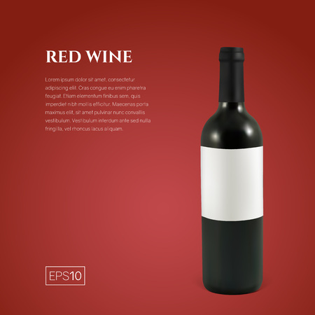 Photorealistic bottle of red wine on a red background. Mock up transparent bottle of wine. Template for product presentation or advertising in a minimalistic style. Ilustrace