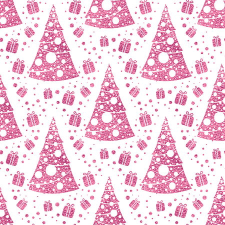 Seamless vector pattern with stylized christmas trees on pink background. Christmas edition. Perfect for greeting cards, wrapping paper, banners, etc. Reklamní fotografie - 126938246