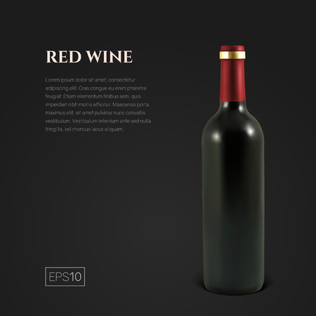 Photorealistic bottle of red wine on a black background. Mock up transparent bottle of wine. Template for product presentation or advertising in a minimalistic style. Ilustrace