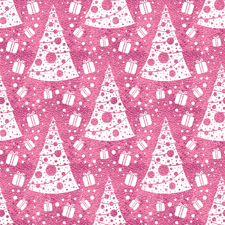 Seamless vector pattern with stylized christmas trees on pink background. Christmas edition. Perfect for greeting cards, wrapping paper, banners, etc. Reklamní fotografie - 126897614