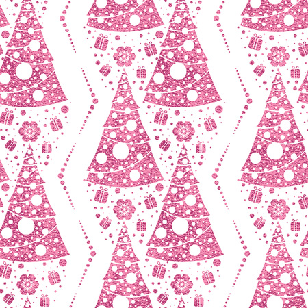Seamless vector pattern with stylized christmas trees on pink background. Christmas edition. Perfect for greeting cards, wrapping paper, banners, etc. Reklamní fotografie - 126897615