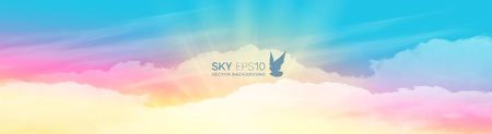 Narrow horizontal vector banner with realistic pink-blue sky and cumulus clouds. The image can be used to design a flyer and postcard. Çizim
