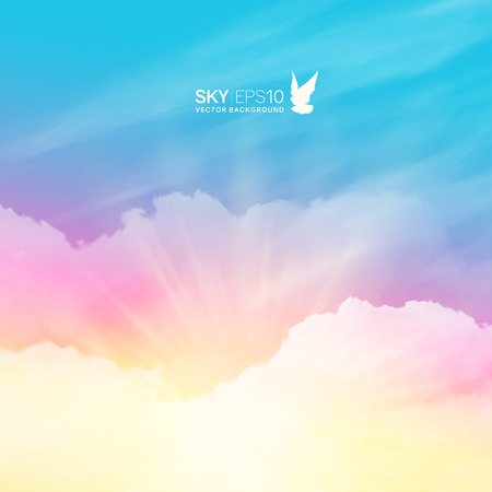 Square vector background with realistic pink-blue sky and cumulus clouds. The image can be used to design a banner, flyer and postcard.