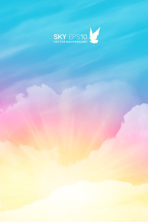 Vertical vector background with realistic pink-blue sky and cumulus clouds. The image can be used to design a banner, flyer and postcard.