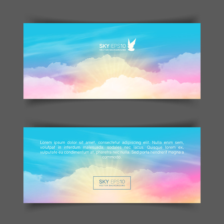 Narrow horizontal vector banners with realistic pink-blue sky and cumulus clouds. The image can be used to design a flyer and postcard.