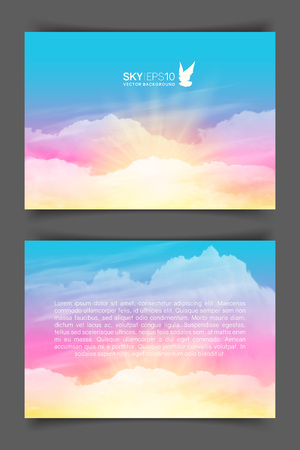 Two-sided horizontal flyer of a4 format with realistic pink-blue sky and cumulus clouds. The image can be used to design a banner, flyer and postcard. Ilustrace
