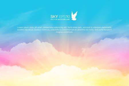 Fondo de vector horizontal con cielo azul rosado realista y cúmulos. La imagen se puede utilizar para diseñar un banner, un volante y una postal. Ilustración de vector