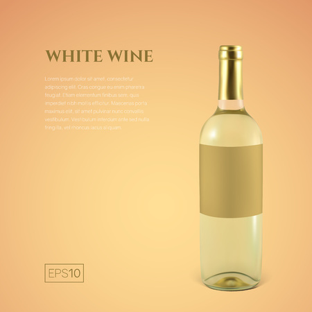 Photorealistic bottle of white wine on a yellow background. Mock up transparent bottle of wine. Template for product presentation or advertising in a minimalistic style.