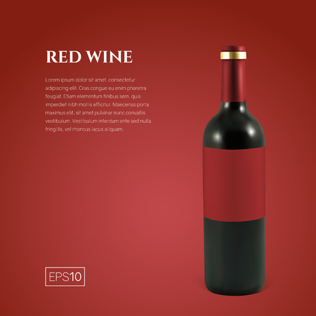Photorealistic bottle of red wine on a red background. Mock up transparent bottle of wine. Template for product presentation or advertising in a minimalistic style. Ilustração