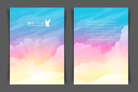 Two-sided vertical flyer of a4 format with realistic pink-blue sky and cumulus clouds. The image can be used to design a banner, flyer and postcard.