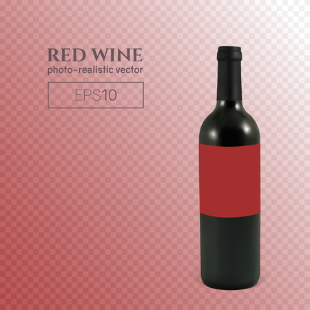 Photorealistic bottle of red wine on a transparent background. Mock up transparent bottle of wine. This wine bottle can be placed on any background. Vettoriali