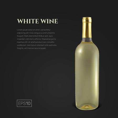 Photorealistic bottle of white wine on a black background. Mock up transparent bottle of wine. Template for product presentation or advertising in a minimalistic style.