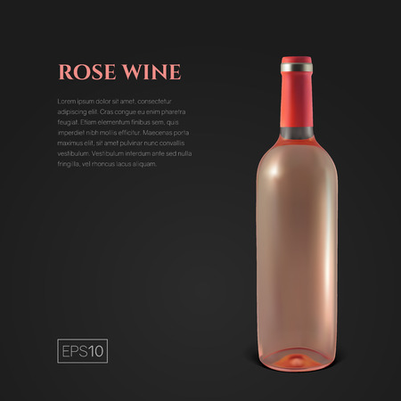 Photorealistic bottle of rose wine on a black background. Mock up transparent bottle of wine. Template for product presentation or advertising in a minimalistic style.