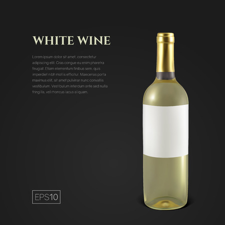 Photorealistic bottle of white wine on a black background. Mock up transparent bottle of wine. Template for product presentation or advertising in a minimalistic style. Reklamní fotografie - 125901126