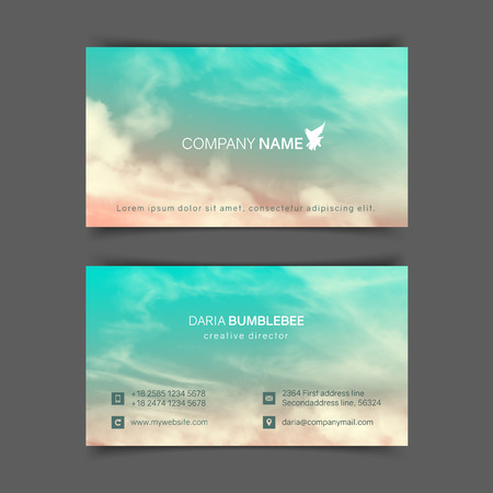 Two-sided horizontal business cards with realistic pink-blue sky and clouds